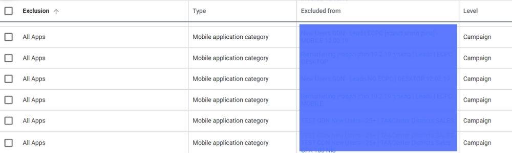 исключаем все приложения в один клик